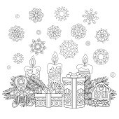 Coloring page of Christmas gifts