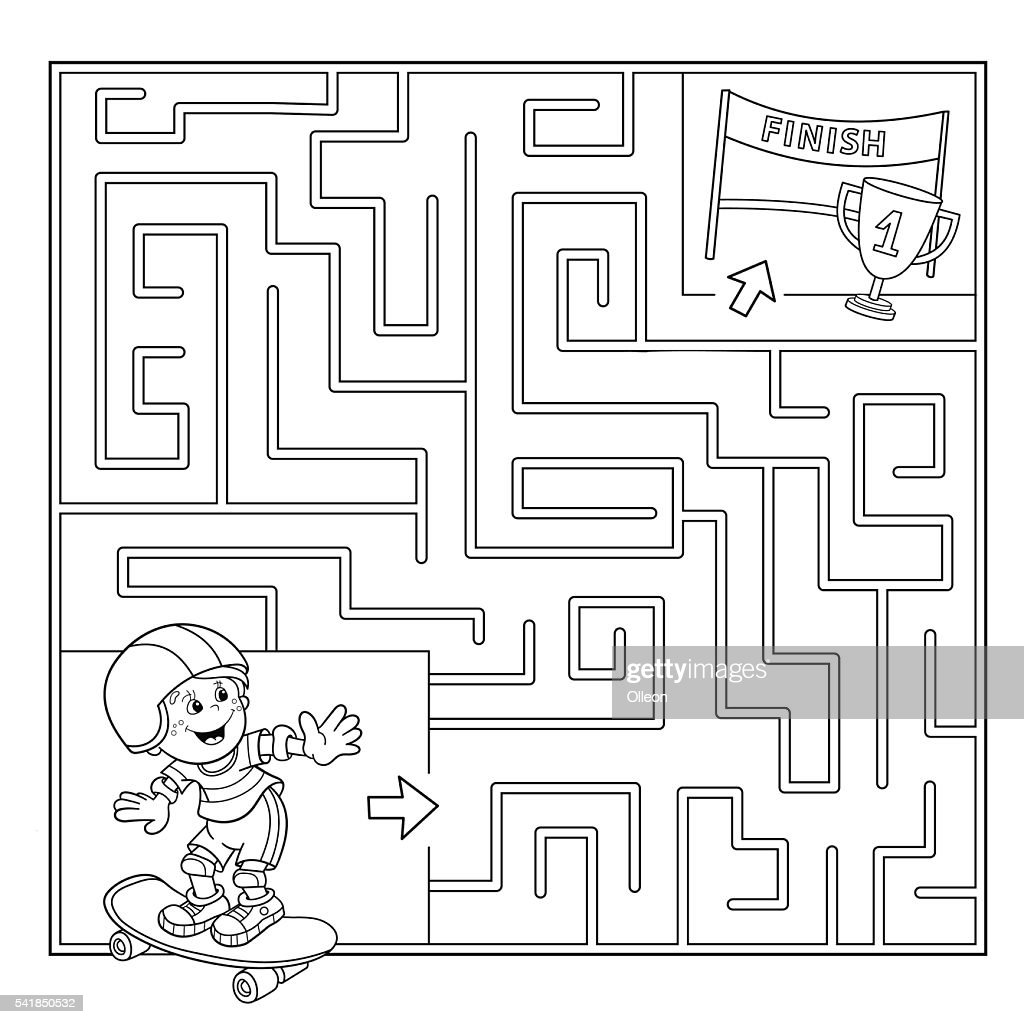 Coloring Page Outline Of Boy on the skateboard.Labyrinth