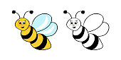 Coloring page outline of cartoon cute bee. Coloring book for kids. Vector illustration,