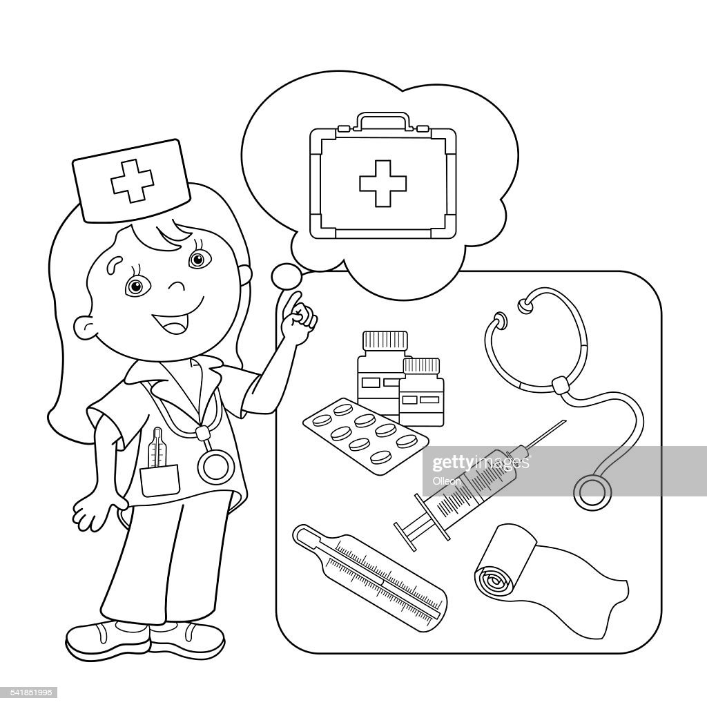 - Coloring Page Outline Of Cartoon Doctor With First Aid Kit High-Res Vector  Graphic - Getty Images