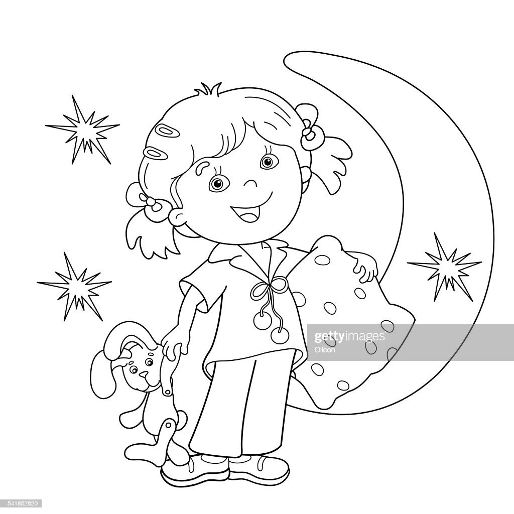Coloring Page Outline Of Cartoon Girl In Pajamas With Pillow Vector