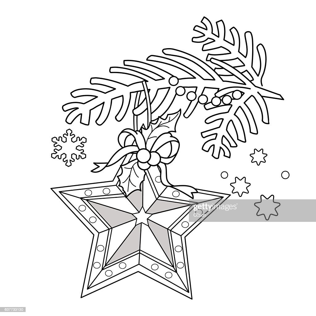 Coloring Page Outline Of Christmas Decoration Star Vector Art