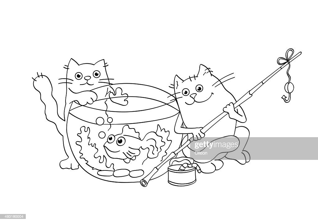 Coloring Page Outline Of funny cats catching  goldfish