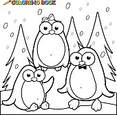 Coloring page snowy landscape with penguins on ice