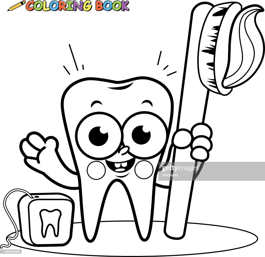 cd43365e1 Coloring page tooth cartoon character holding toothbrush and dental floss   stock  vector