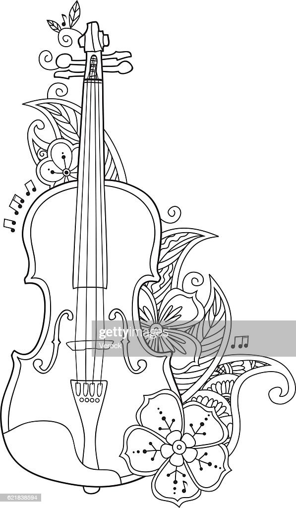 Coloring Page Violin With Flowers And Leafs Vektorgrafik Getty Images