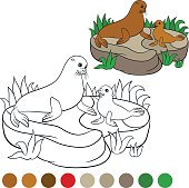 Coloring page with colors. Mother fur seal with her baby.