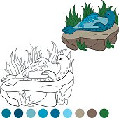 Coloring page with colors. Mother seal with her baby.