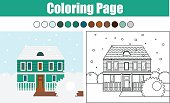 Coloring page with cottage house winter scene. Children educational game