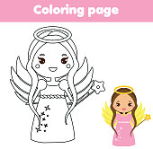 Coloring page with cute angel character in kawaii style. Drawing kids game. Printable activity