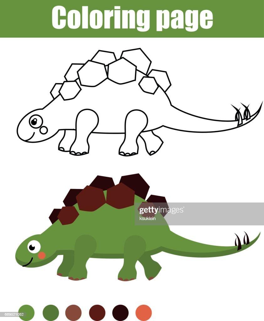 Malvorlagen Mit Niedlichen Dinosaurier Kinder Lernspiel Zeichnung ...