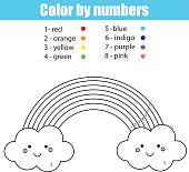 Coloring page with cute kawaii rainbow. Color by numbers