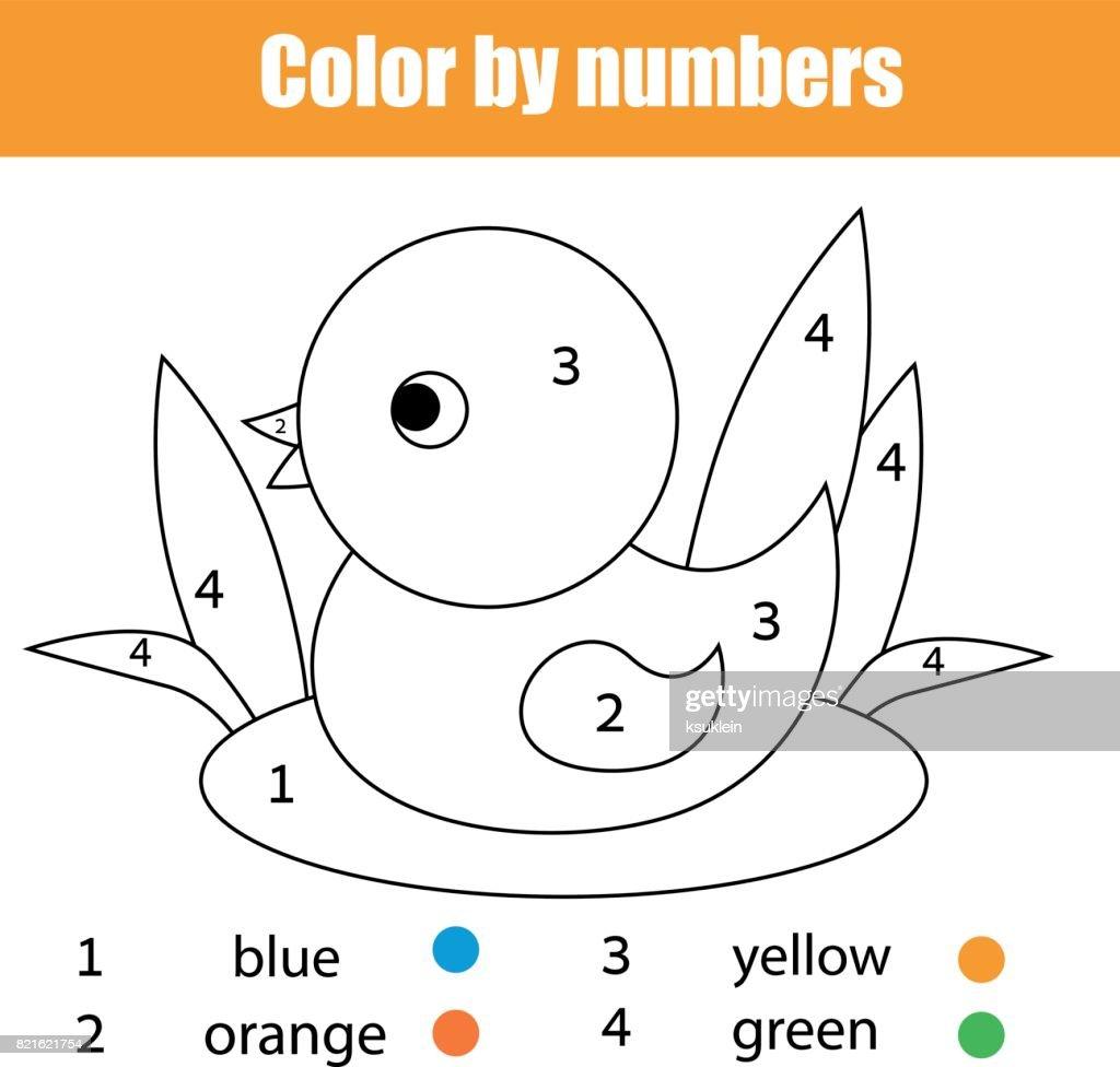 Kleurplaat Met Eend Vogel Kleur Door Getallen Educatief Kinderen