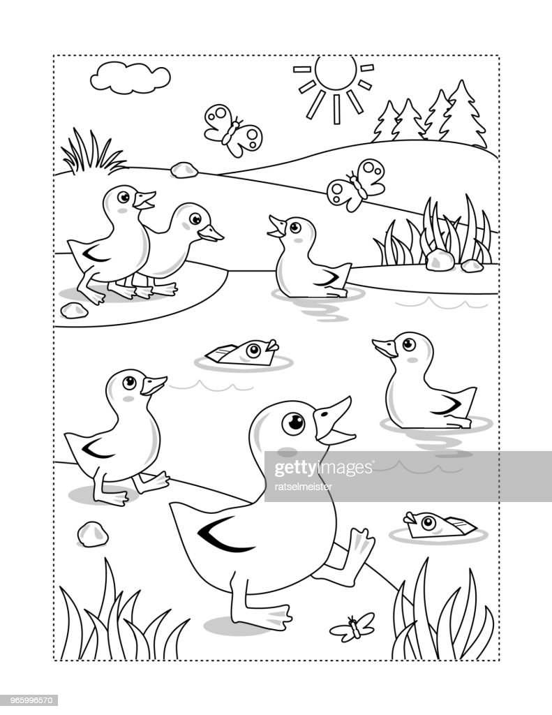 Coloring page with ducklings at the pond