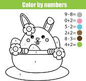 Coloring page with Easter bunny character. Color by numbers math educational children game, drawing kids activity. rabbit in busket with eggs