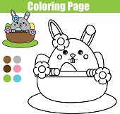 Coloring page with Easter bunny character. Drawing kids activity. rabbit in busket with eggs
