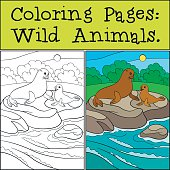 Coloring page with example. Mother fur seal with her baby.