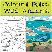 Coloring page with example. Mother seal with her cute baby.