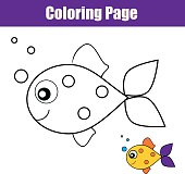 Coloring page with fish. Educational game, printable drawing kids activity