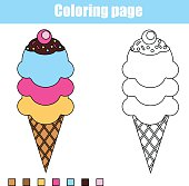 Coloring page with ice cream. Educational children game, printable drawing