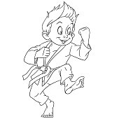 Coloring page with karate boy