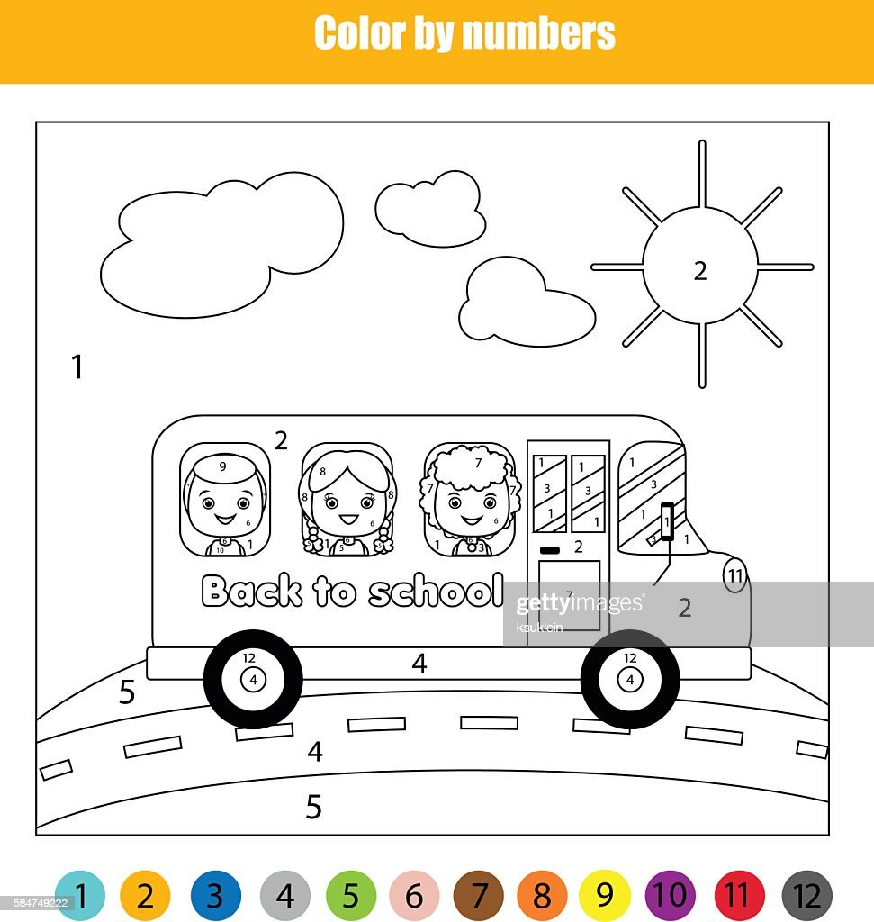 Coloring page with kids in school bus. Color by numbers