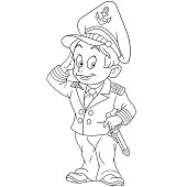 Coloring page with marine sailor or boat captain