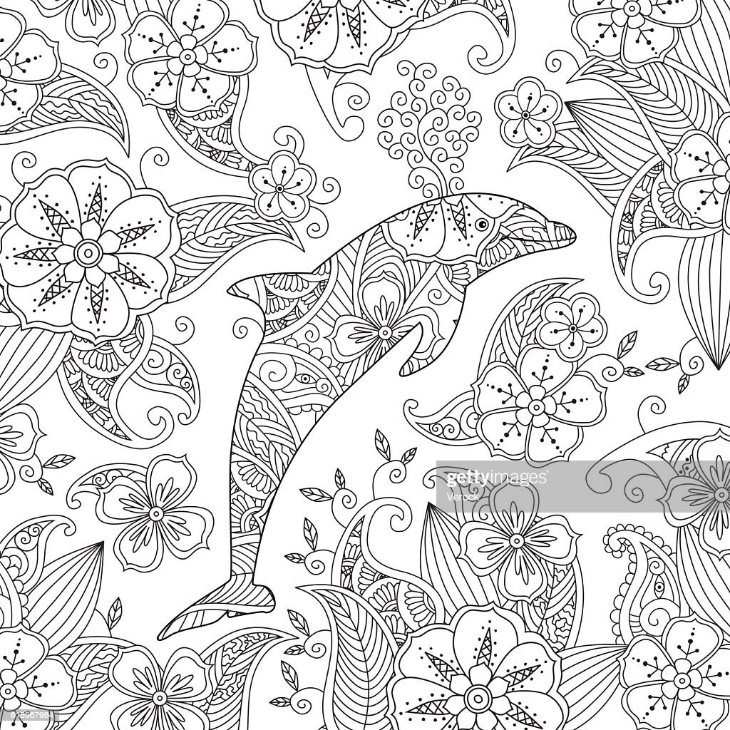 Coloring Page With One Jumping Dolphin On Floral Background Vector ...