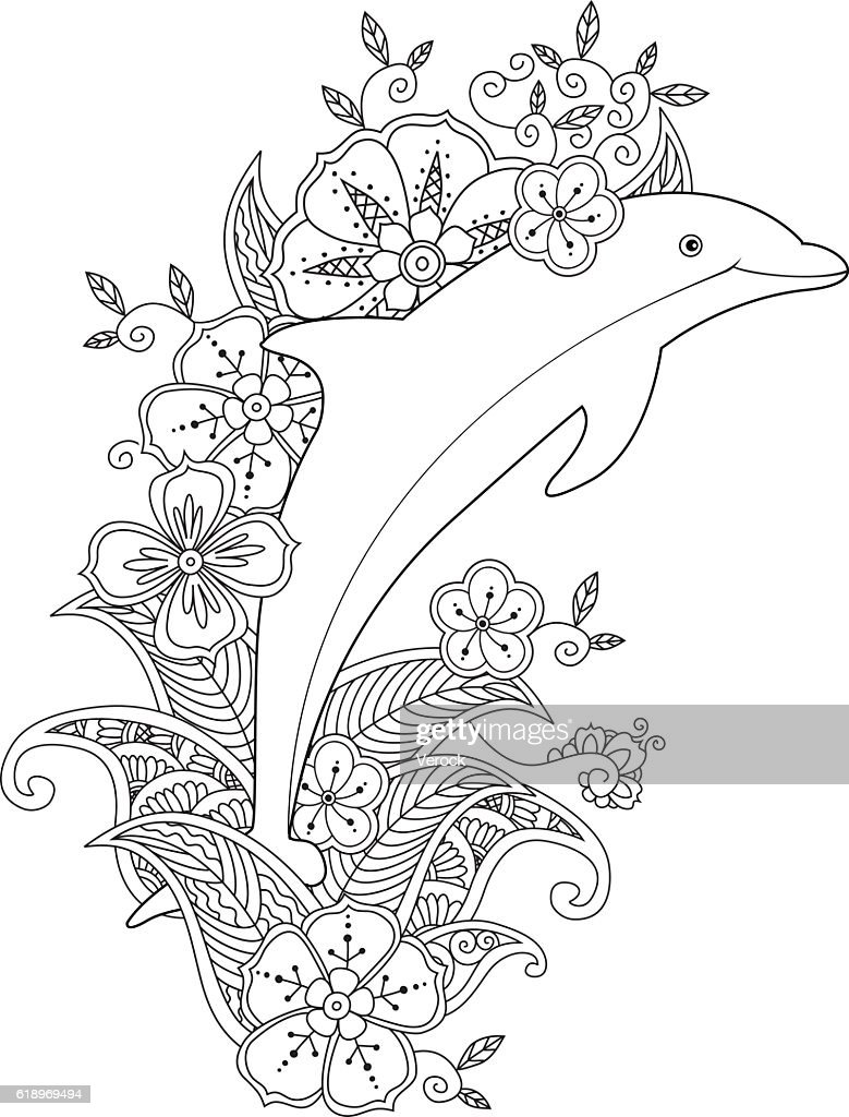 Coloring Page With One Jumping Dolphin On Floral Waves Vector Art ...