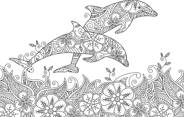 coloring page with pair of jumping dolphins in the sea vector id