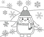 Coloring page with penguin and snowflakes. Educational game, drawing kids
