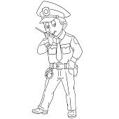 Coloring page with policeman, police officer
