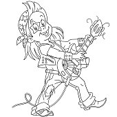 Coloring page with rock guitarist
