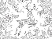 Coloring page with running deer and floral background. Horizontal composition.