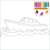 Coloring page with sea ship