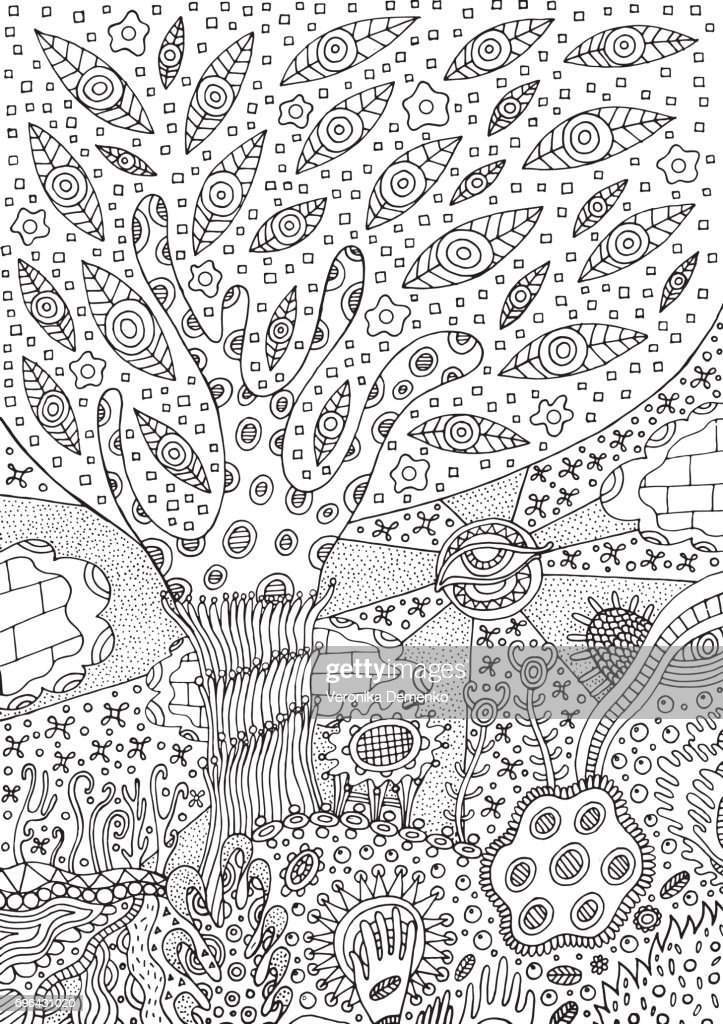coloring page with surreal landscape tree flower and sky vector for vector id