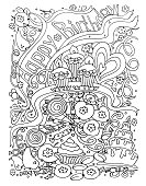 Coloring page.Background birthday