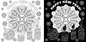 Coloring Pages. Coloring Book for adults. Colouring pictures. Antistress freehand sketch drawing with doodle elements.