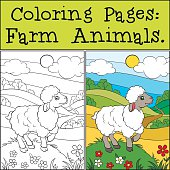 Coloring Pages: Farm Animals. Little cute sheep.