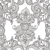 Coloring pages for adults. Seamles Henna Mehndi Doodles Abstract Floral
