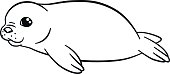 Coloring pages. Little cute baby fur seal smiles.