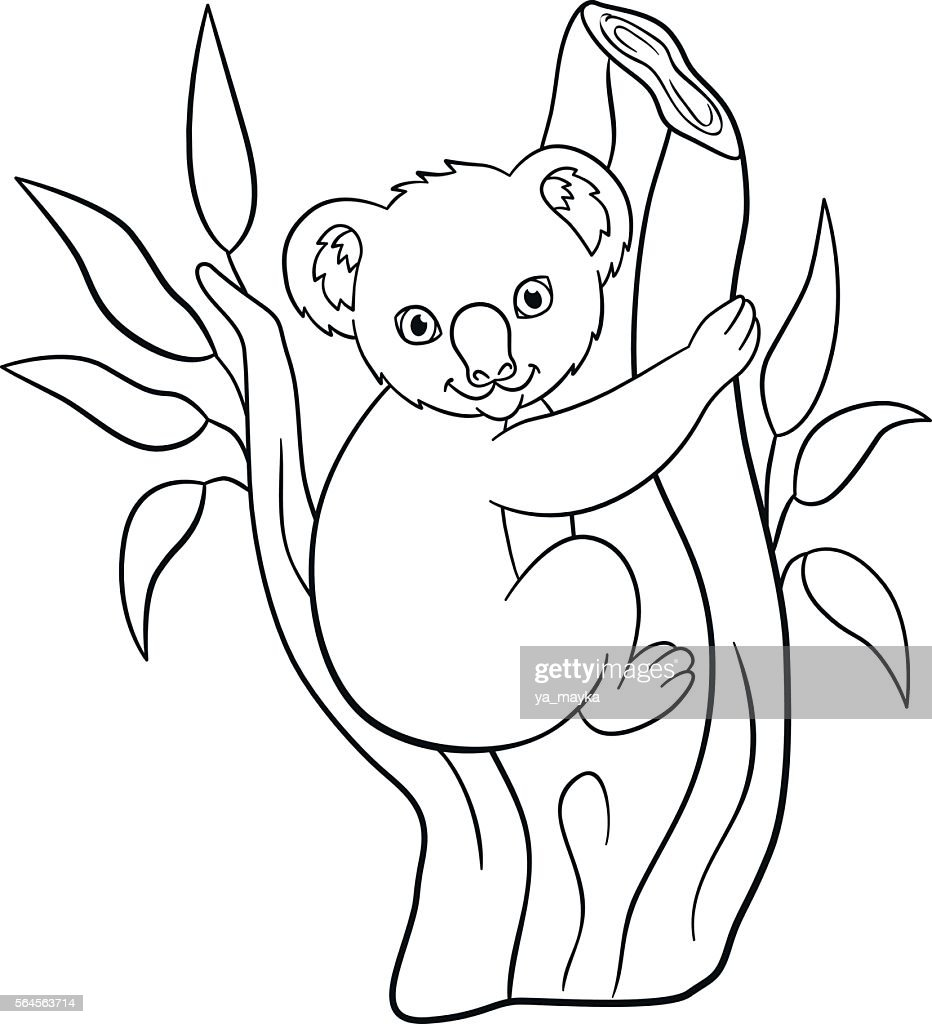 Coloring pages. Little cute baby koala smiles.