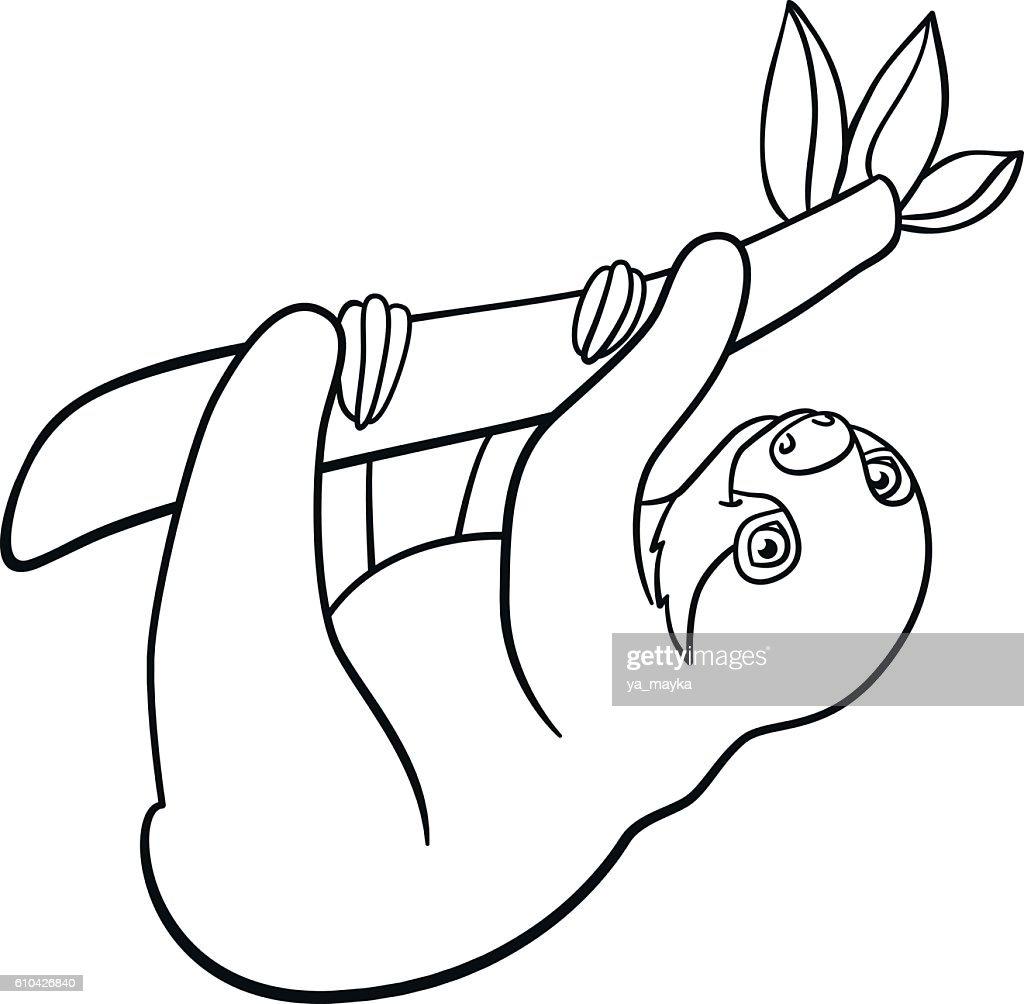 Malvorlagen Kleine Süße Baby Faultier Stock-Illustration - Getty