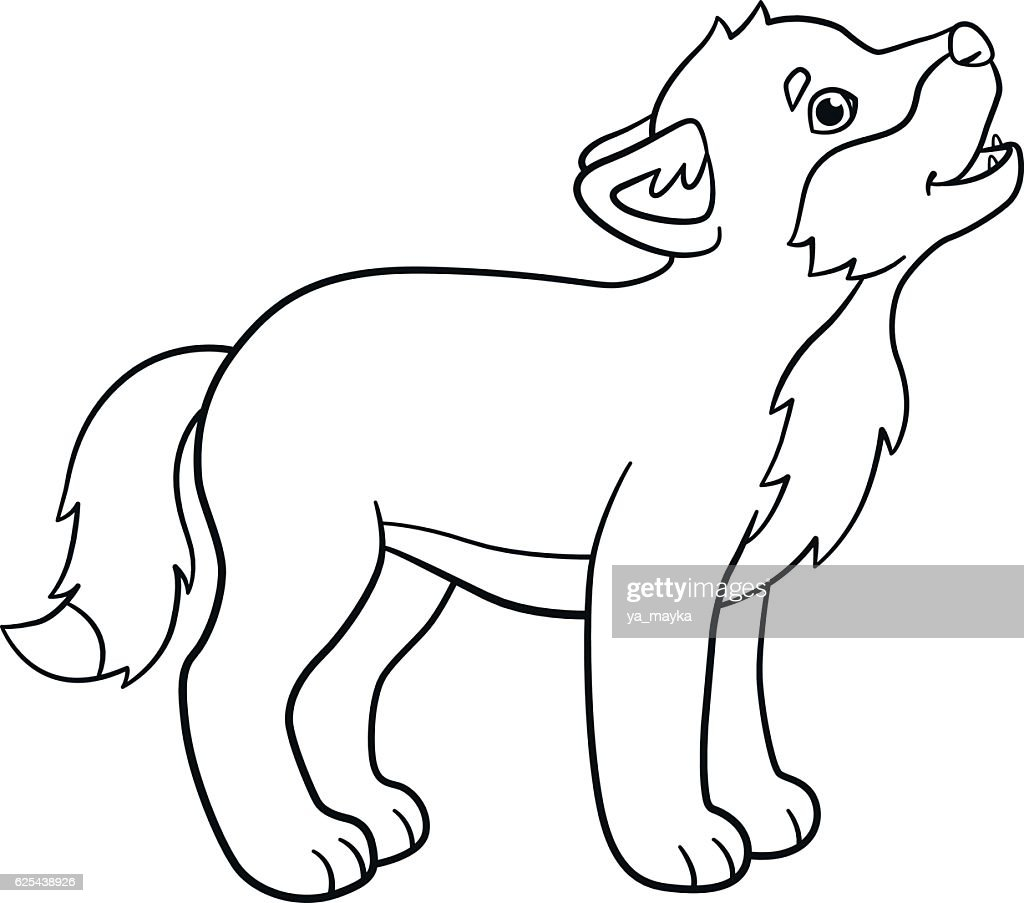 Coloring Pages Little Cute Baby Wolf Howls Vektorgrafik Getty Images