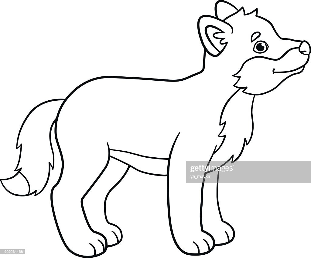 Coloring Pages Little Cute Baby Wolf