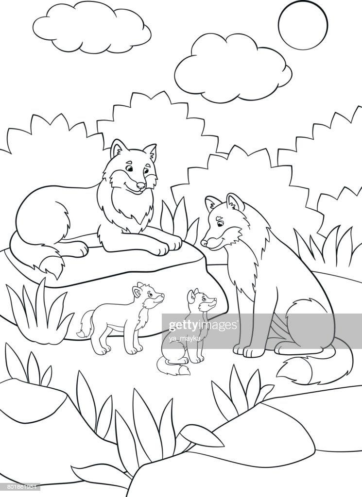 Malvorlagen Mutter Und Vater Wölfe Mit Ihren Babys Vektorgrafik ...