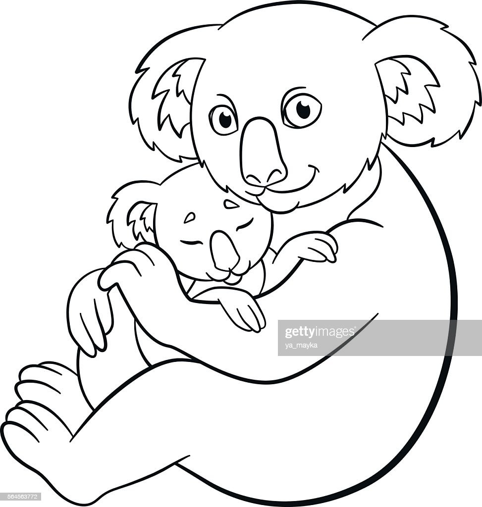 Coloring pages. Mother koala with her cute sleeping baby.
