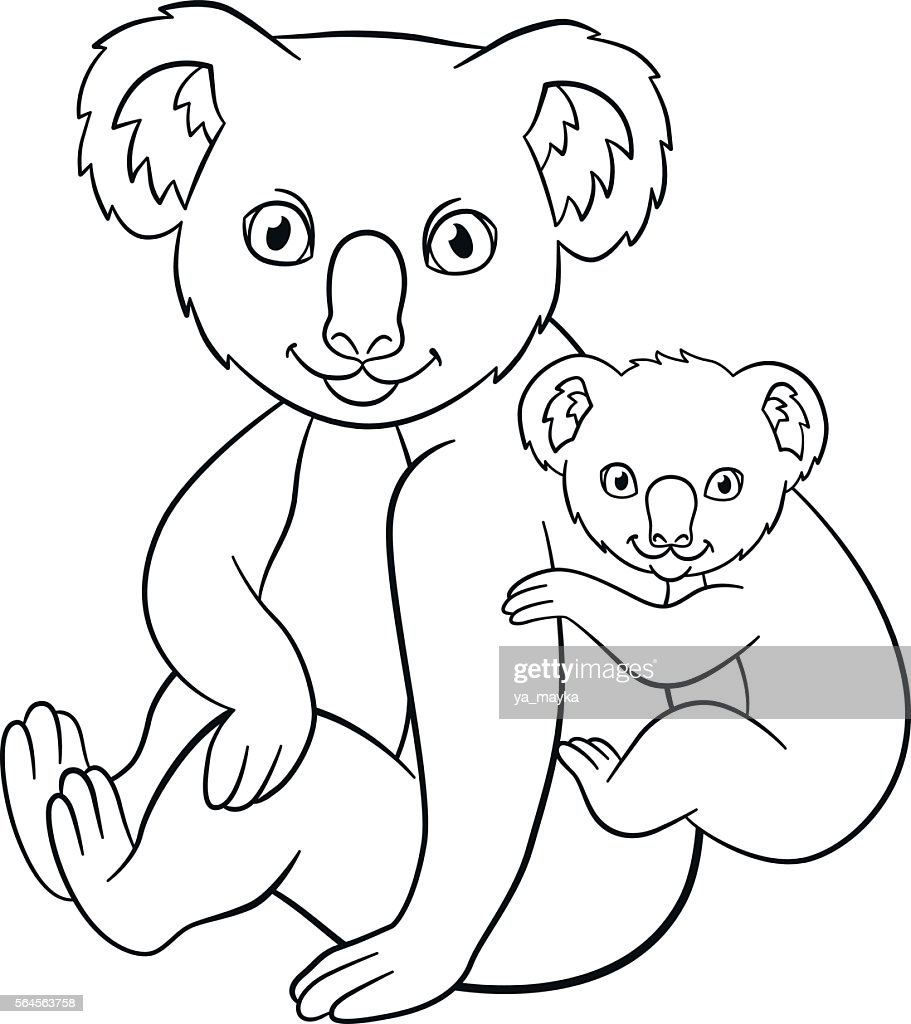 Coloring pages. Mother koala with her little cute baby.