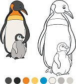 Coloring pages. Mother penguin stands with her cute baby.