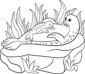 Coloring pages. Mother seal with her little cute baby.